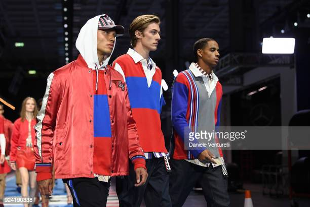 Jeremy Meeks , Lucky Blue Smith and Christian Combs walk the runway at the Tommy Hilfiger show during Milan Fashion Week Fall/Winter 2018/19 on...