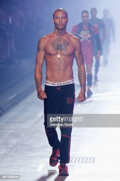 Jeremy Meeks walks the runway at the Plein Sport show during Milan Men's Fashion Week Spring/Summer 2018 on June 18, 2017 in Milan, Italy.