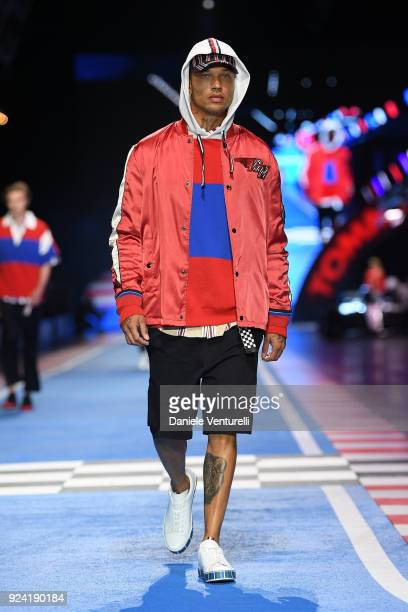 Jeremy Meeks walks the runway at the Tommy Hilfiger show during Milan Fashion Week Fall/Winter 2018/19 on February 25, 2018 in Milan, Italy.