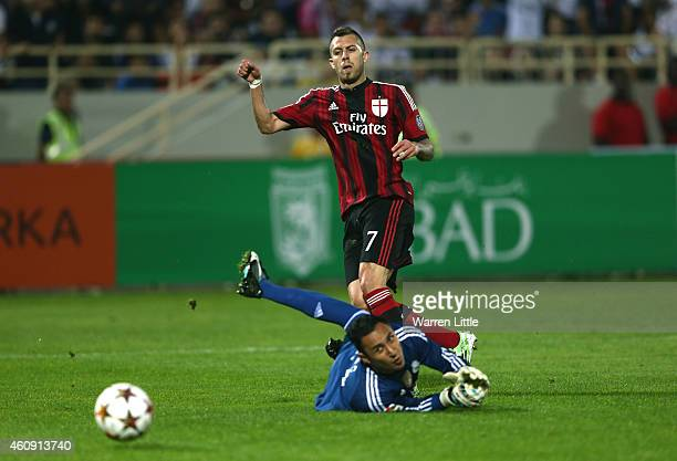 Jeremy Mendez of AC Milan scores the opwning goal during the Dubai Football Challenge match between AC Milan and Real Madrid at The Sevens Stadium on...