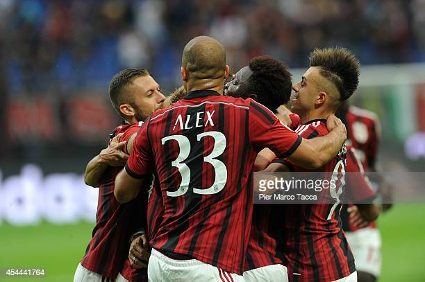 Jeremy Menez Alex Dias da CostaSulley Ali Muntari and Stephan El Shaarawy of AC Milan celebrate the goal of 20 during the Serie A match between AC...