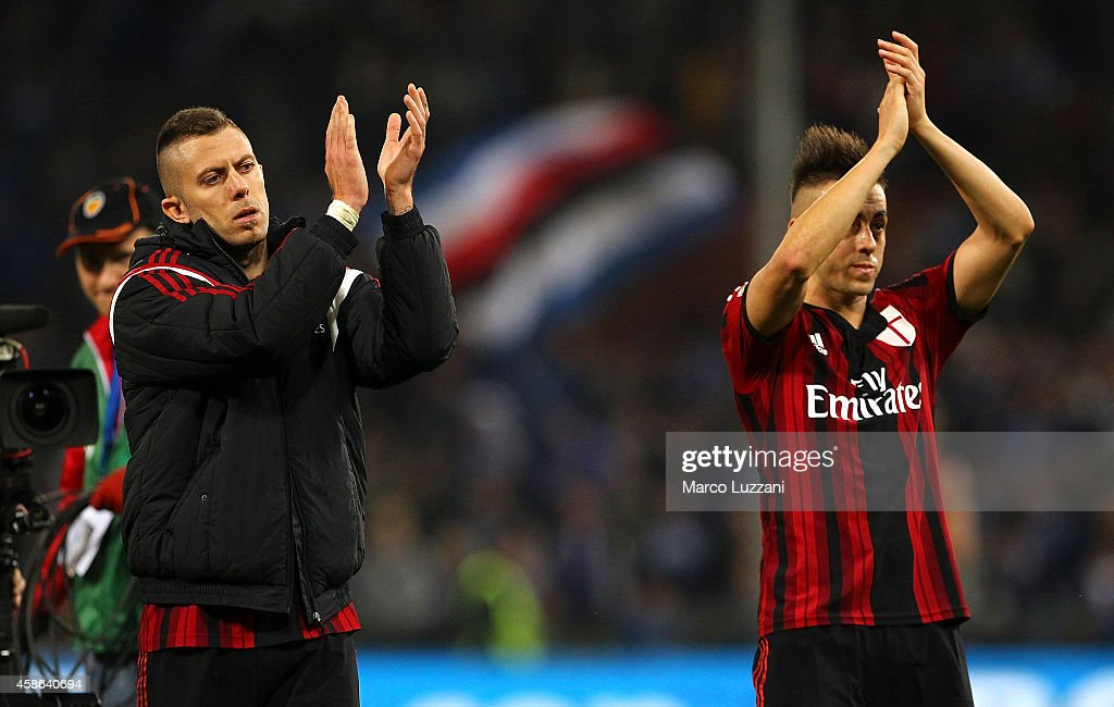 Jeremy Menez and Stephan El Shaarawy of AC Milan salute the fans at the end of the Serie A match between UC Sampdoria and AC Milan at Stadio Luigi Ferraris on November 8, 2014 in Genoa, Italy.