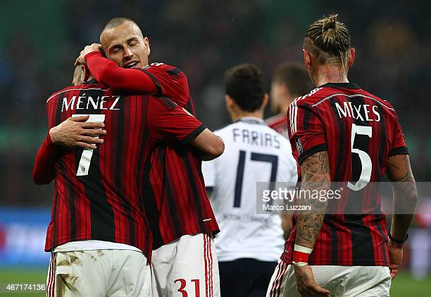 Jeremy Menez Luca Antonelli and Philippe Mexes of AC Milan celebrate victory at the end of the Serie A match between AC Milan and Cagliari Calcio at...