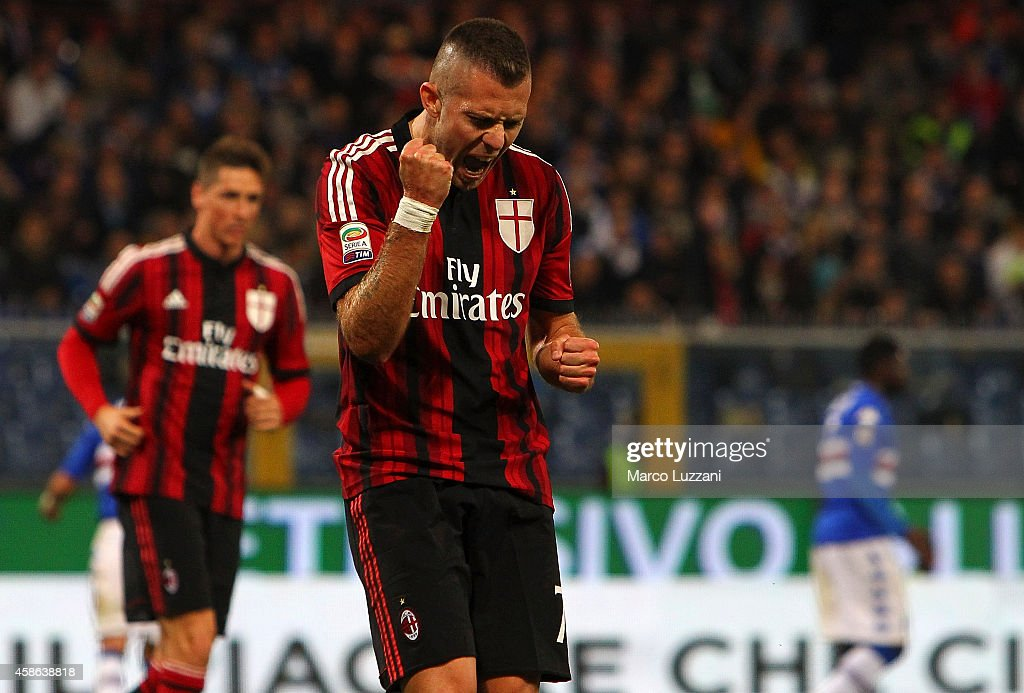 Jeremy Menez of AC Milan celebrates his goal during the Serie A match between UC Sampdoria and AC Milan at Stadio Luigi Ferraris on November 8, 2014 in Genoa, Italy.
