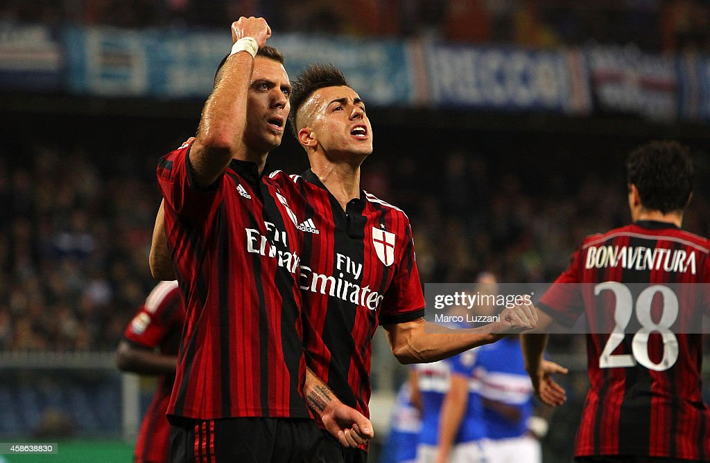 Jeremy Menez (L) of AC Milan celebrates his goal with his team-mate Stephan El Shaarawy (R) during the Serie A match between UC Sampdoria and AC Milan at Stadio Luigi Ferraris on November 8, 2014 in Genoa, Italy.
