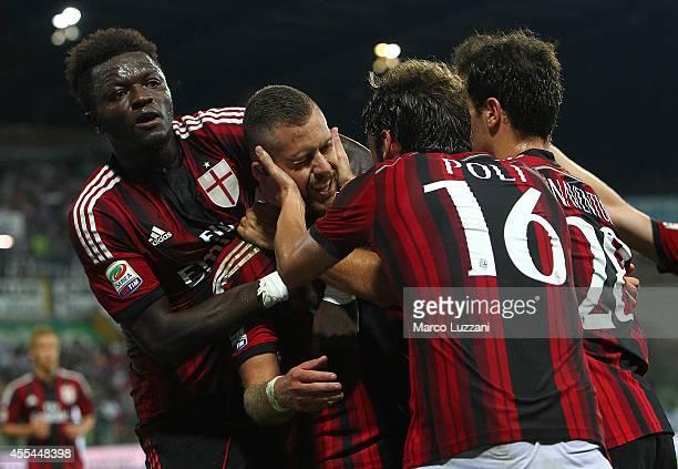 Jeremy Menez of AC Milan celebrates his goal with his team-mates Sulley Ali Muntari , Andrea Poli and Giacomo Bonaventura during the Serie A match...