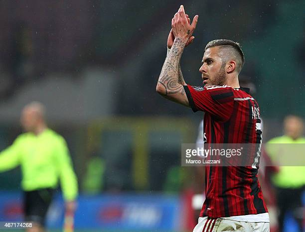 Jeremy Menez of AC Milan celebrates victory at the end of the Serie A match between AC Milan and Cagliari Calcio at Stadio Giuseppe Meazza on March...