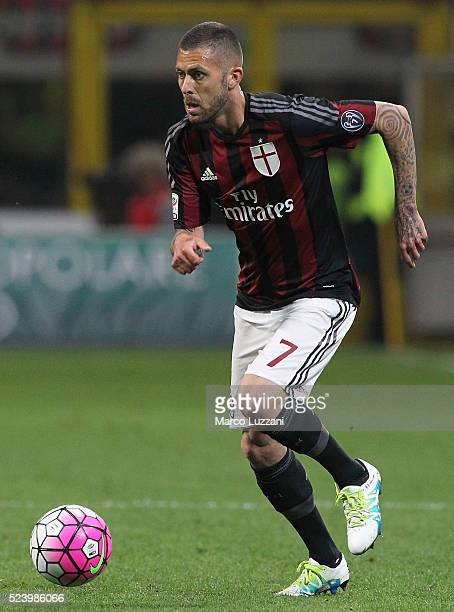 Jeremy Menez of AC Milan in action during the Serie A match between AC Milan and Carpi FC at Stadio Giuseppe Meazza on April 21 2016 in Milan Italy