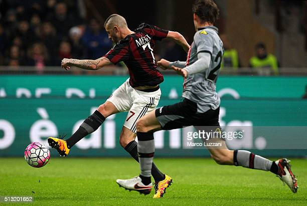 Jeremy Menez of AC Milan scores the opening goal during the TIM Cup match between AC Milan and US Alessandria at Stadio Giuseppe Meazza on March 1...