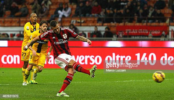 Jeremy Menez of AC Milan scores the opening goal from the penalty spot during the Serie A match between AC Milan and Parma FC at Stadio Giuseppe...