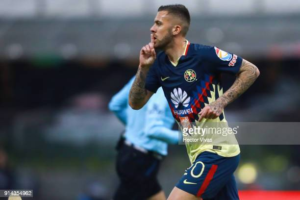 Jeremy Menez of America celebrates after scoring the fifth goal of his team during the 5th round match between America and Lobos BUAP as part of the...