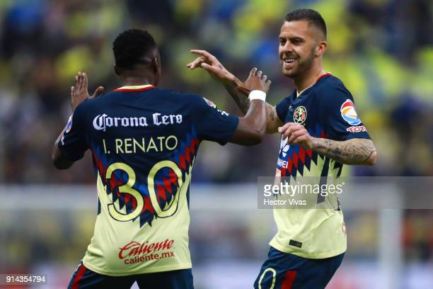 Jeremy Menez of America celebrates with Renato Ibarra after scoring the fifth goal of his team during the 5th round match between America and Lobos...