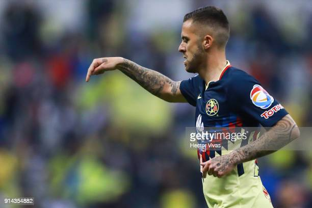 Jeremy Menez of America celebrates with teammates after scoring the fifth goal of his team during the 5th round match between America and Lobos BUAP...