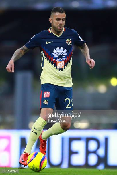 Jeremy Menez of America drives the ball during a match between America and Atlas as part of the 4th round of the Torneo Clausura 2018 Liga MX at...