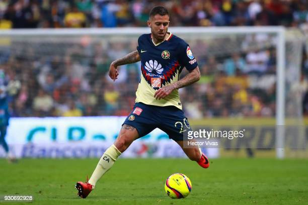 Jeremy Menez of America drives the ball during the 11th round match between America and Leon as part of the Torneo Clausura 2018 Liga MX at Azteca...