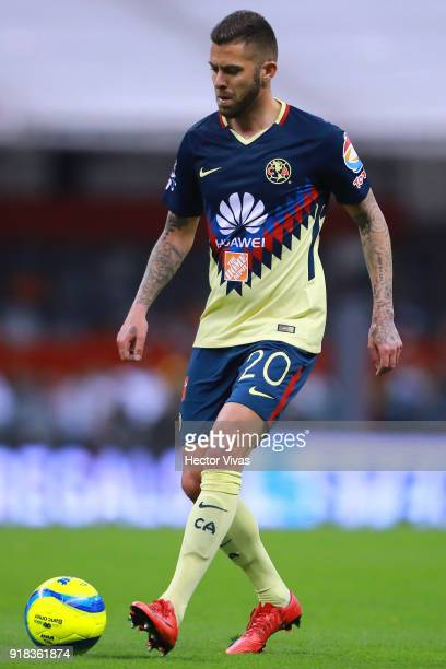 Jeremy Menez of America drives the ball during the 7th round match between America and Monarcas as part of the Torneo Clausura 2018 Liga MX at Azteca...