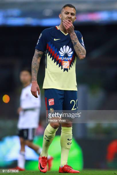 Jeremy Menez of America gestures during a match between America and Atlas as part of the 4th round of the Torneo Clausura 2018 Liga MX at Azteca...