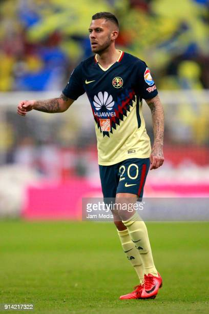 Jeremy Menez of America looks on during the 5th round match between America and Lobos BUAP as part of the Torneo Clausura 2018 Liga MX at Azteca...