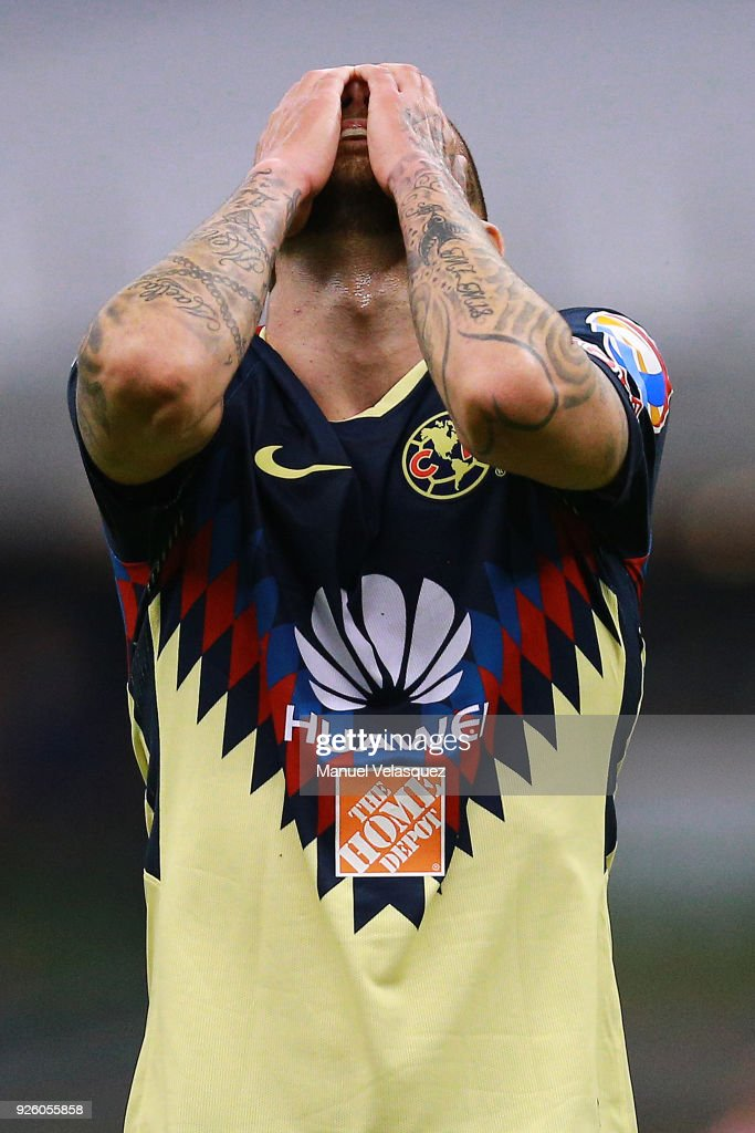 Jeremy Menez of America reacts after missing a chance to score during the match between America and Saprissa as part of the round of 16th of the CONCACAF Champions League at Azteca Stadium on February 28, 2018 in Mexico City, Mexico.