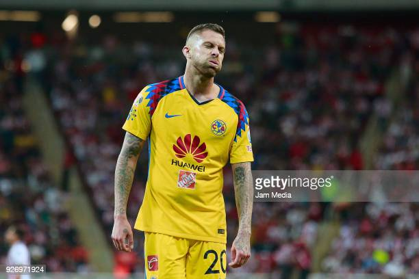 Jeremy Menez of America reacts during the 10th round match between Chivas and America as part of the Torneo Clausura 2018 Liga MX at Akron Stadium on...