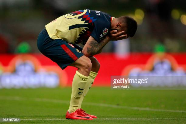 Jeremy Menez of America reacts during the 7th round match between America and Monarcas as part of the Torneo Clausura 2018 Liga MX at Azteca Stadium...
