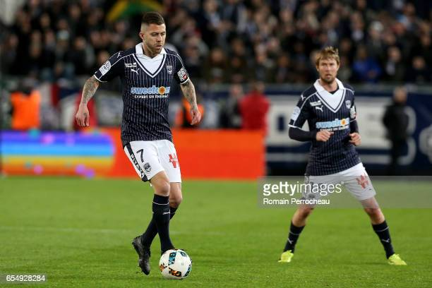 Jeremy Menez of Bordeaux in action during the French Ligue 1 match between Bordeaux and Montpellier at Stade Matmut Atlantique on March 18 2017 in...