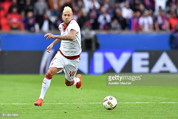 Jeremy Menez of FC Girondins de Bordeaux runs with the ball during the Ligue 1 match between Paris SaintGermain and FC Girondins de Bordeaux at Parc...