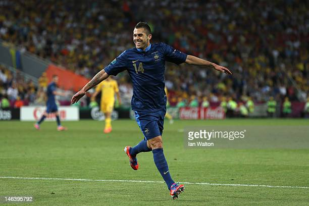 Jeremy Menez of France celebrates scoring the first goal during the UEFA EURO 2012 group D match between Ukraine and France at Donbass Arena on June...