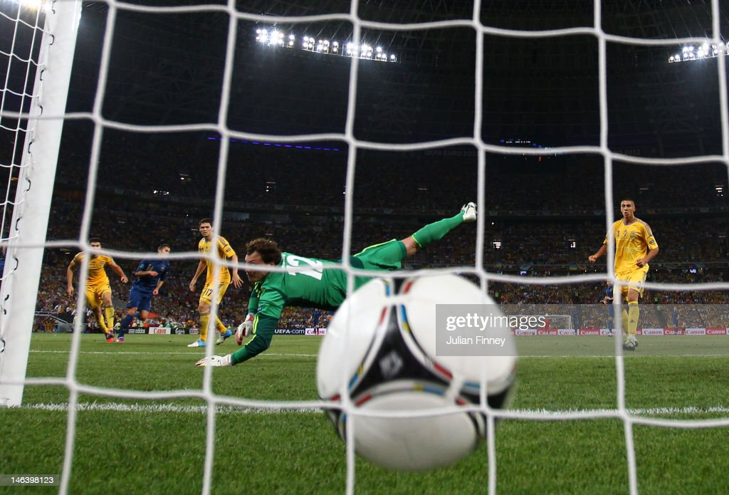 Jeremy Menez (2nd L) of France scores past Andriy Pyatov of Ukraine during the UEFA EURO 2012 group D match between Ukraine and France at Donbass Arena on June 15, 2012 in Donetsk, Ukraine.