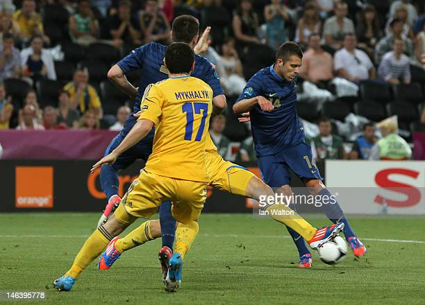 Jeremy Menez of France scores the first goal during the UEFA EURO 2012 group D match between Ukraine and France at Donbass Arena on June 15 2012 in...