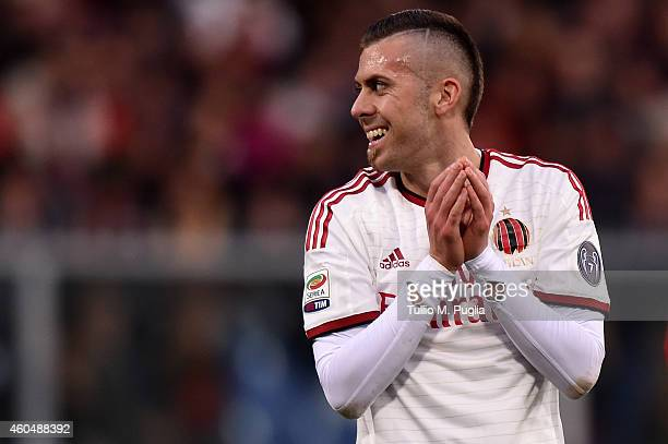 Jeremy Menez of Milan in action during the Serie A match between Genoa CFC and AC Milan at Stadio Luigi Ferraris on December 7 2014 in Genoa Italy