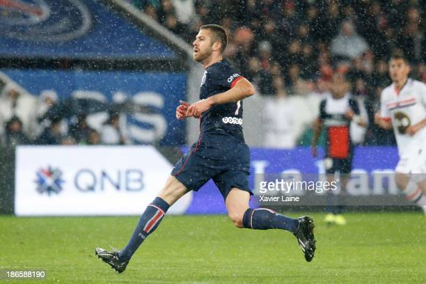 Jeremy Menez of Paris SaintGermain during the French League 1 between Paris SaintGermain FC and Lorient FC at Parc des Princes on November 1 2013 in...