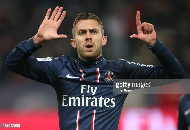 Jeremy Menez of PSG celebrates his goal during the French Ligue 1 match between Paris Saint Germain FC and Sporting Club de Bastia at the Parc des...
