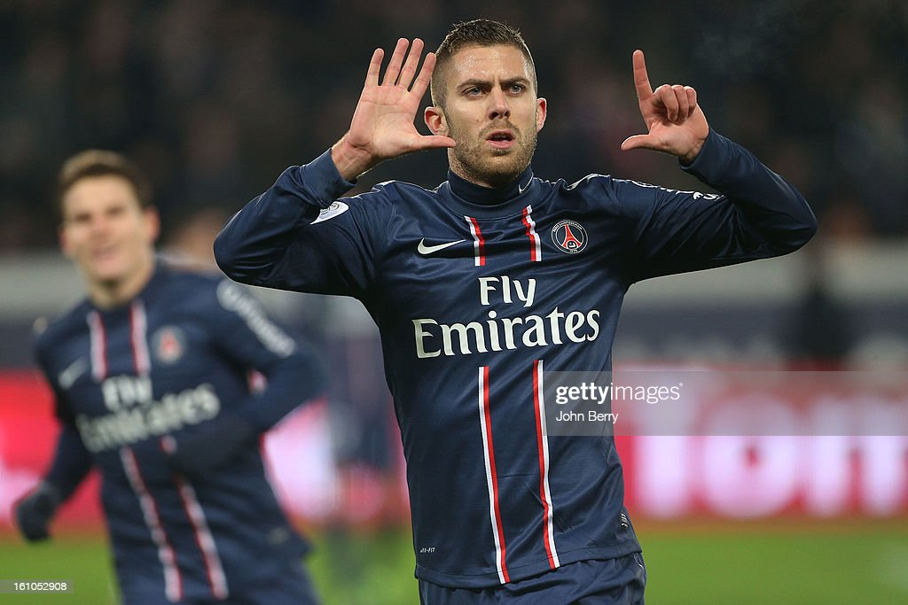 Jeremy Menez of PSG celebrates his goal during the French Ligue 1 match between Paris Saint Germain FC and Sporting Club de Bastia at the Parc des Princes stadium on February 8, 2013 in Paris, France.