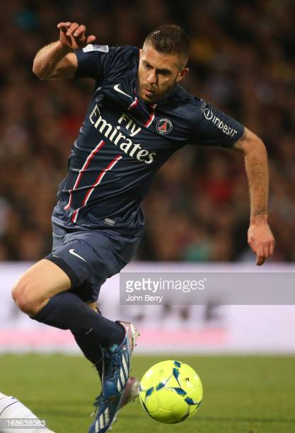 Jeremy Menez of PSG in action during the Ligue 1 match between Olympique Lyonnais OL and Paris SaintGermain FC PSG at the Stade Gerland on May 12...