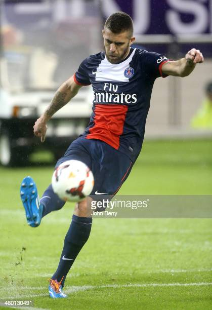 Jeremy Menez of PSG in action during the match between Paris SaintGermain FC and Real Madrid at the Khalifa Stadium on January 2 2014 in Doha Qatar