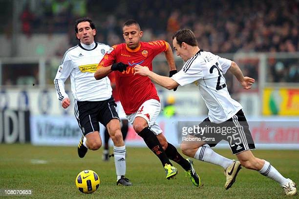 Jeremy Menez of Roma competes with Steve Von Bergen of Cesena during the Serie A match between AC Cesena and AS Roma at Dino Manuzzi Stadium on...