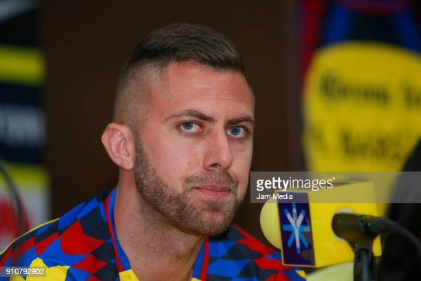 Jeremy Menez speaks during the press conference to announce Club America's new players at Azteca Stadium on January 26 2017 in Mexico Ciy Mexico