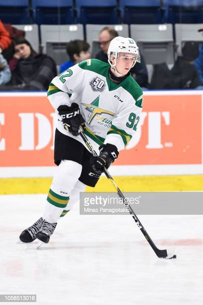 Jeremy Michel of the Valdu2019Or Foreurs skates the puck in the warmup prior to the QMJHL game against the BlainvilleBoisbriand Armada at Centre...