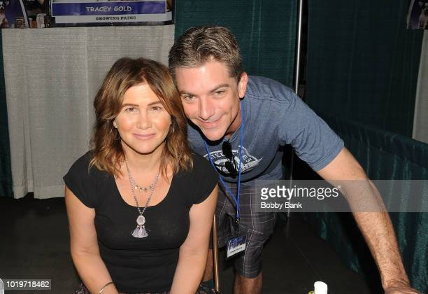 Jeremy Miller and Tracey Gold attend the 2018 STL Pop Culture Con at St Charles Convention Center on August 19 2018 in St Charles Missouri