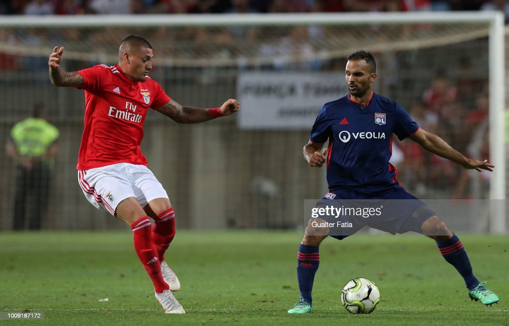 Jeremy Morel from Lyon with Nicolas Castillo from SL Benfica in ...