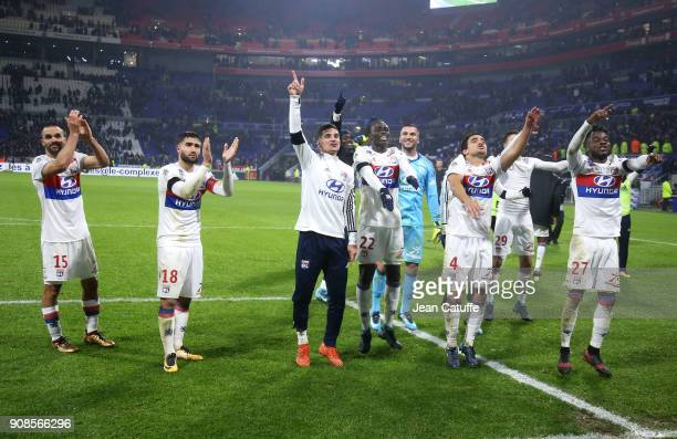 Jeremy Morel Nabil Fekir Ferland Mendy Houssem Aouar goalkeeper of Lyon Anthony Lopes Rafael Da Silva Maxwel Cornet of Lyon celebrate the victory...