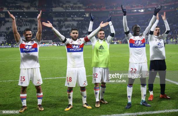 Jeremy Morel Nabil Fekir Jordan Ferri Ferland Mendy Houssem Aouar of Lyon celebrate the victory following the French Ligue 1 match between Olympique...