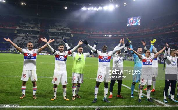 Jeremy Morel Nabil Fekir Jordan Ferri Ferland Mendy Houssem Aouar goalkeeper of Lyon Anthony Lopes Rafael Da Silva of Lyon celebrate the victory...