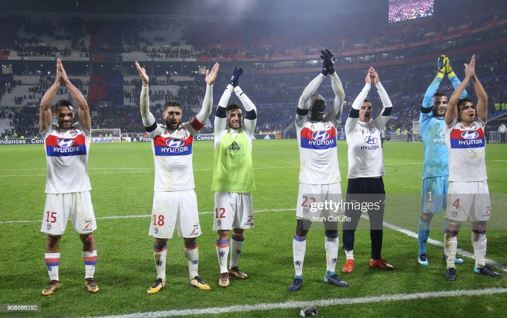 Jeremy Morel, Nabil Fekir, Jordan Ferri, Ferland Mendy, Houssem Aouar, goalkeeper of Lyon Anthony Lopes, Rafael Da Silva of Lyon celebrate the victory following the French Ligue 1 match between Olympique Lyonnais (OL) and Paris Saint Germain (PSG) at Groupama Stadium on January 21, 2018 in Lyon, France.