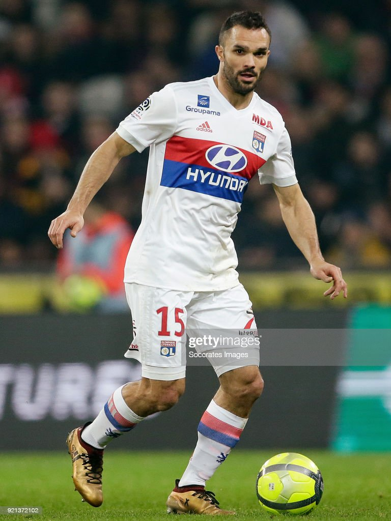 Jeremy Morel of Olympique Lyon during the French League 1 match between Lille v Olympique Lyon at the Stade Pierre Mauroy on February 18, 2018 in Lille France