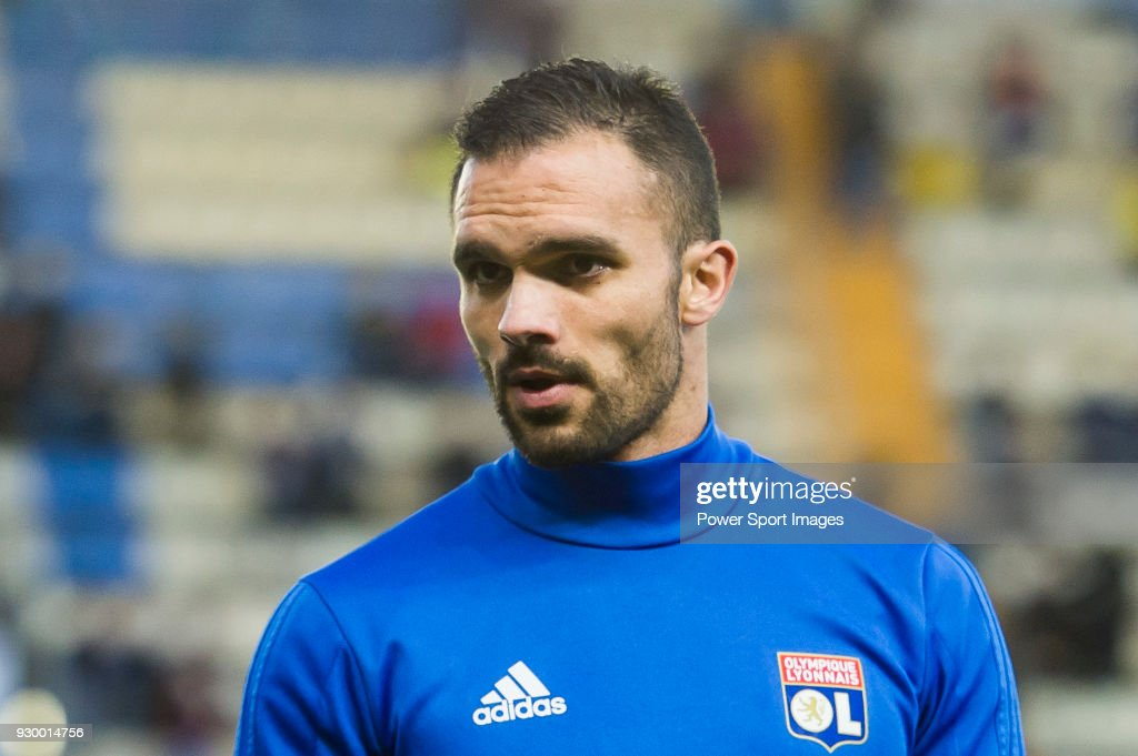 Jeremy Morel of Olympique Lyon prior to the UEFA Europa League 2017-18 Round of 32 (2nd leg) match between Villarreal CF and Olympique Lyon at Estadio de la Ceramica on February 22 2018 in Villarreal, Spain.