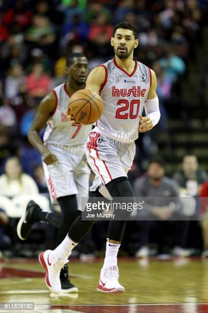 Jeremy Morgan of the Memphis Hustle handles the ball against the Texas Legends during an NBA GLeague game on January 29 2018 at Landers Center in...