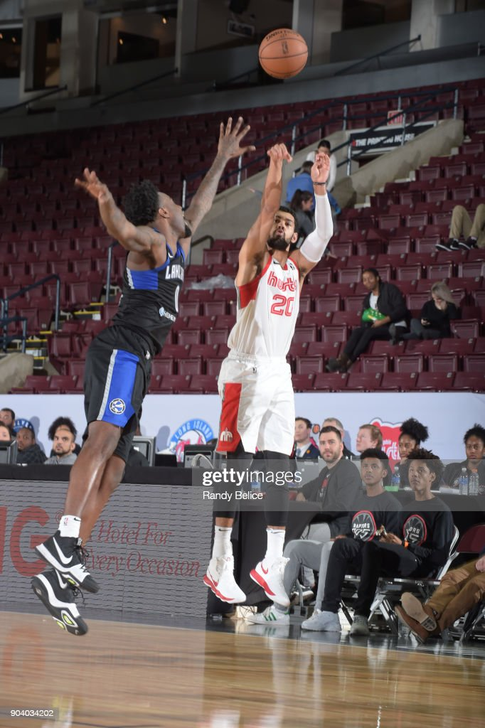 Jeremy Morgan #20 of the Memphis Hustle shoots the ball during the game against the Lakeland Magic at the NBA G League Showcase Game 14 on January 11, 2018 at the Hershey Centre in Mississauga, Ontario Canada.
