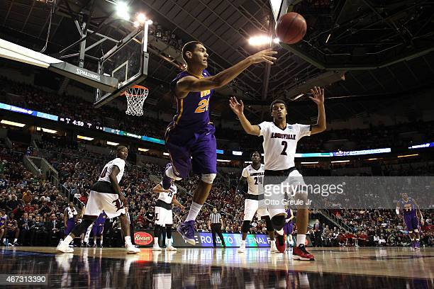 Jeremy Morgan of the Northern Iowa Panthers saves the ball against the Louisville Cardinals in the second half of the game during the third round of...